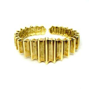 Jewelry - 14k Gold Vintage Ribbed Hinged Cuff Bracelet 6.25""